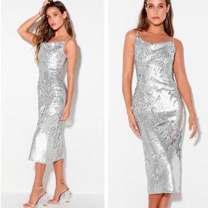 Lulu's No Signs Silver Midi Dress